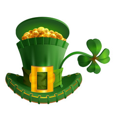 green hat full gold coin and luck leaf clover st vector image