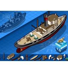 Isometric old tugboat vector