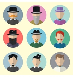 Set of Circle Icons with Man vector image vector image