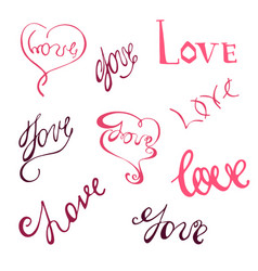 set with handdrawn word love vector image vector image