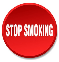 stop smoking red round flat isolated push button vector image