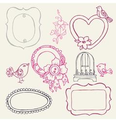 sweet doodle frames vector image vector image