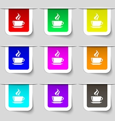 tea coffee icon sign Set of multicolored modern vector image