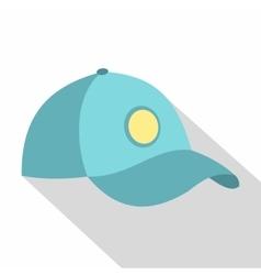 Blue baseball cap icon flat style vector image vector image