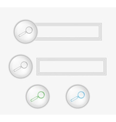 buttons with magnifying glass vector image vector image