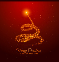 Christmas tree design made with golden sparkles vector