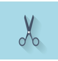 Flat scissors icon with long shadow vector image