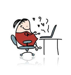 Girl chatting on computer cartoon for your design vector image