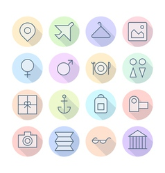 icons line round resort thin vector image vector image