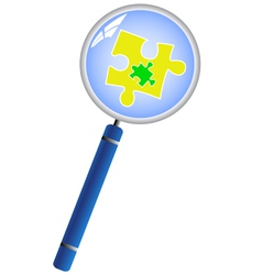 Magnifying glass analyzing the puzzle concept vector image