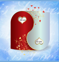 postcard yin and yang valentines day vector image