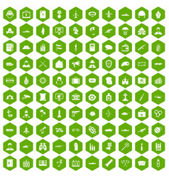 100 military icons hexagon green vector