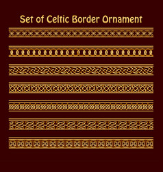 a set seamless golden celtic ornament vector image