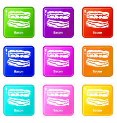 bacon icons set 9 color collection vector image