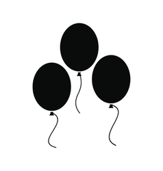Balloons black simple icon vector image