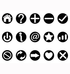 Black interface button icons vector
