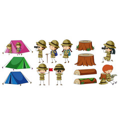boyscouts and camping elements vector image