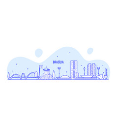 brasilia skyline brazil city buildings line vector image