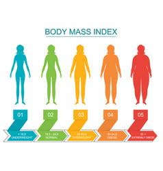 cartoon body mass index infographics concept card vector image