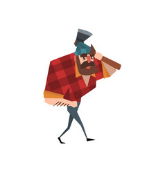 Cartoon lumberjack character walking with hand in vector