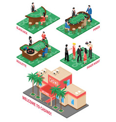 Casino isometric elements set vector