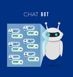 chatbot concept robot projects a screen vector image