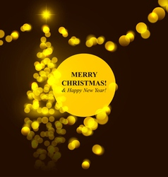christmas tree golden lights vector image