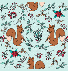 christmas winter forest squirrel seamless pattern vector image
