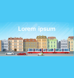 City building houses view with car road tram vector