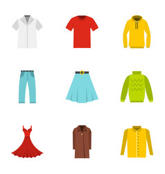 clothes icons set flat style vector image