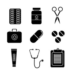 Color healthcare medications tools icon vector