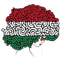 Colorful hair a flag of Italy vector