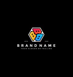 Colorful hexagon letter b logo design vector