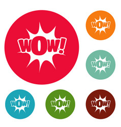 Comic boom icons circle set vector