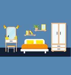 Cozy bedroom interior with furniture vector