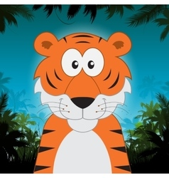 Cute cartoon tiger in front of jungle background vector