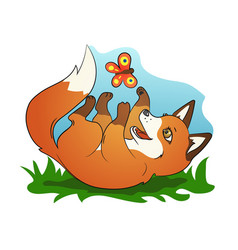 Cute little fox playing with butterfly vector