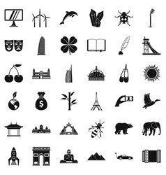 different world icons set simple style vector image