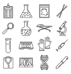 Dna investigation laboratory icons set outline vector