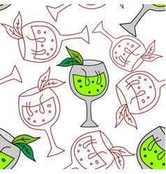 drinking glass pattern seamless template vector image