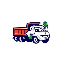 Dump truck waving cartoon vector