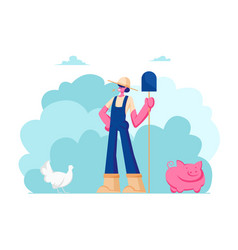 farm girl in working uniform hat holding shovel vector image