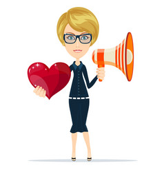 Female with red heart and megaphone vector