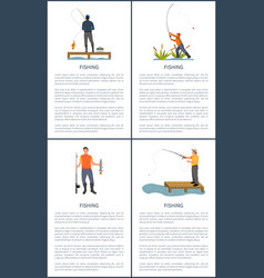 Fishing posters activity set vector