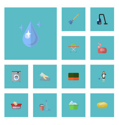 Flat icons wisp besom laundry and other vector