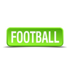 Football green 3d realistic square isolated button vector image