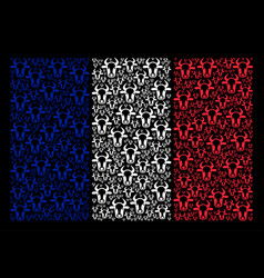 france flag collage of cow head items vector image