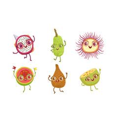 funny tropical fruit characters set dragon snake vector image