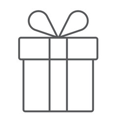 gift box thin line icon present and holiday vector image