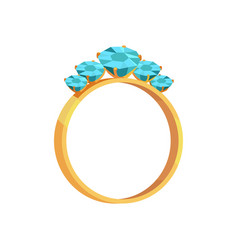 Gold ring with turquoise gems isolated vector